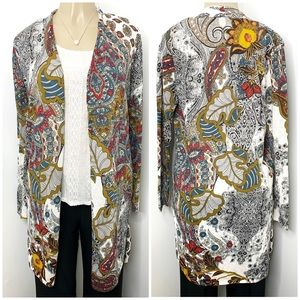 CHICO's Multi Floral Paisley Cardigan NWT Size 0